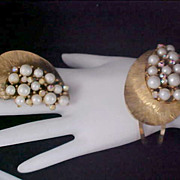 SALE Lavish Simulated Pearl & AB Hinged Cuff Bangle & Matching Brooch