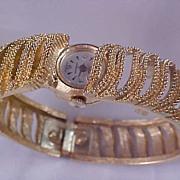 SHEFFIELD ~ Swiss Made Gold Plate Intricate  BRACELET Watch ~ Shock Resistant