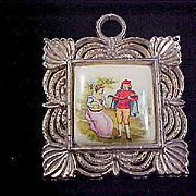 VICTORIAN Style  Porcelain Hand Painted Gold Plate Pendant