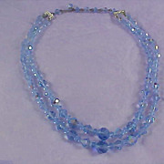 High Quality BLUE  Round & Bicone Cut  Two-Strand Necklace