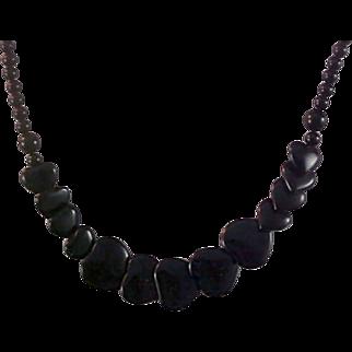 SALE Black HEART VALENTINE Graduated Beads Necklace