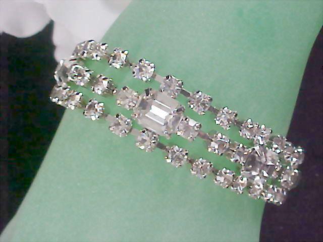 Sale -  Adolph KATZ  ~ CORO PEGASUS ca 1940 ~Glitzy Rhinestone Three Row Bracelet