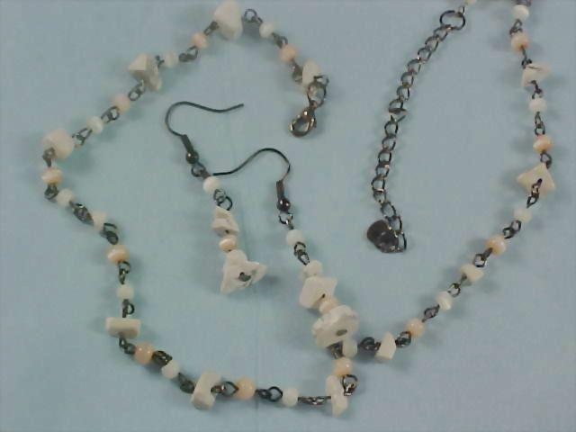 Quartz & Moonstone Bead  Demi Parure - Necklace and Earrings