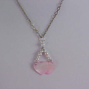 SALE Pink  Mother of Pearl DOUBLE HEARTS &  Simulated Seed White Pearls Necklace