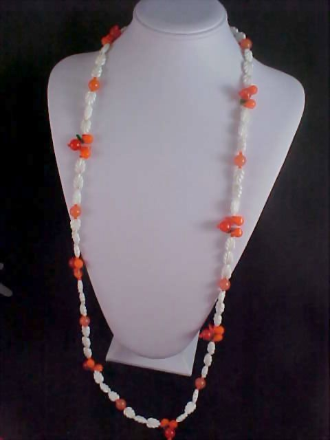 Citrus - Orange Moonglow - Jade Green Lucite & White Lucite Sautoir Necklace