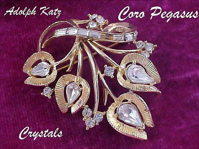 Ultra Dazzle~ADOLPH KATZ~Coro Pegasus ~ Ultra Crystal g=Gold Plate  Brooch