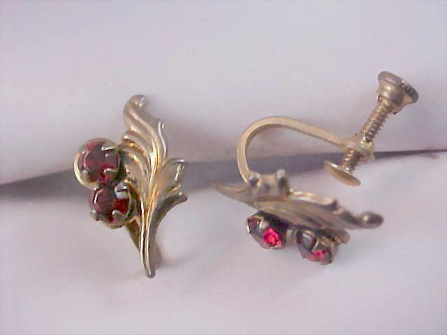 Sterling Silver  & Red Rhinestone 1930's Screw Back Earrings Earrings