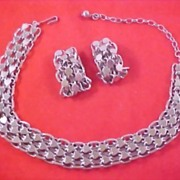 SALE Silver  Plate  Hearts & Circles of Love Demi Parure Necklace and Earrings