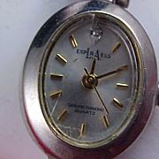 Genuine Diamond Quartz-LA EXPRESS Designer Bracelet Ladies Watch