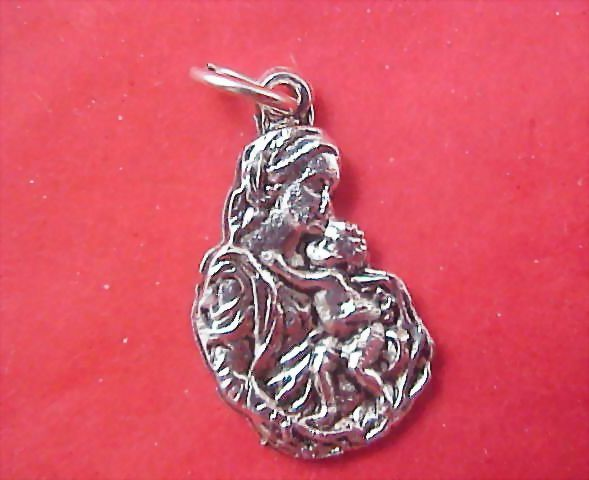 MADONNA & CHILD Religious Medal crafted in Silver Rhodium Plate