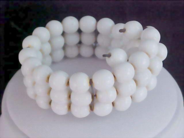 Fabulous -  Milk White Glass Three Row Wrap Bracelet