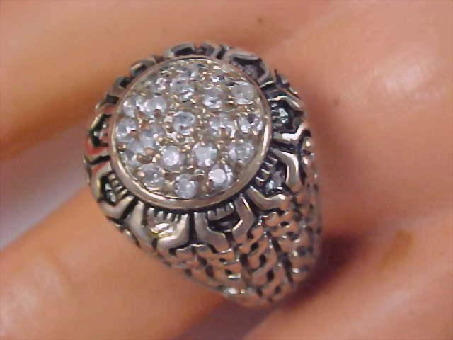 ART DECO Pave Cubic Zirconia  Silver Plate Ornate Dome Ring - 11.5 grams