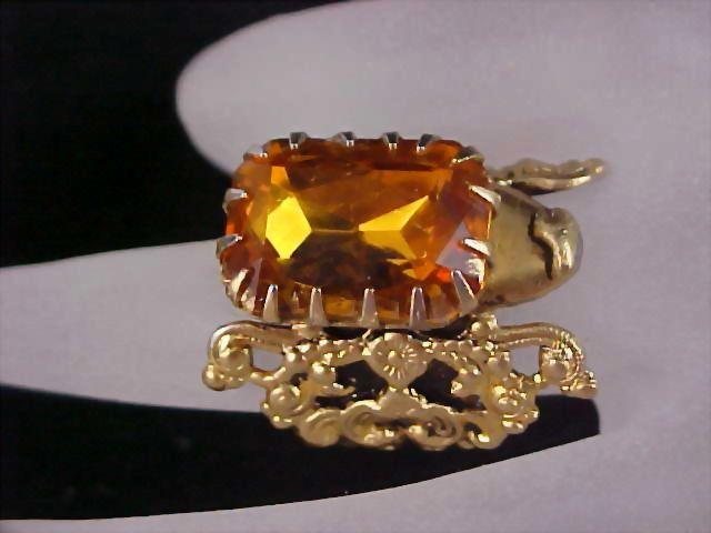 FABULOUS Victorian Style Honey Amber Massive Glass Stone Filigree Cocktail Ring