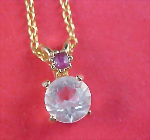 Lab Created  Ruby & Large Faceted Cubic Zirconia Pendant and Chain