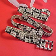 SHOWSTOPPER ~   Black Rhinestone & Diamante Chatons Ladies Jeweled Belt~Book Piece