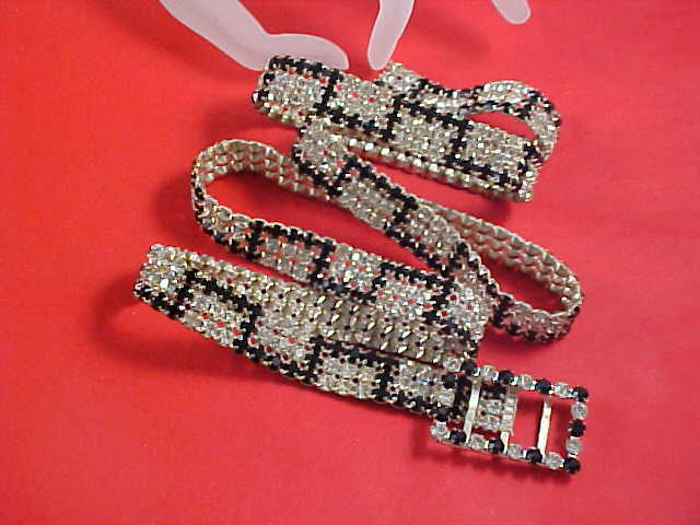 SHOWSTOPPER ~   Black Rhinestone & Diamante Chatons Ladies Jeweled Belt~Book Piece