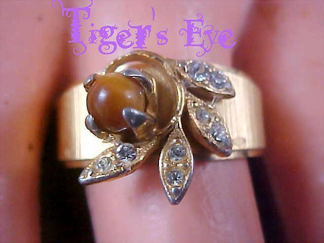 18KT HGE~Tiger's Eye & Diamante` Fashion Ring - Size 9 1/4