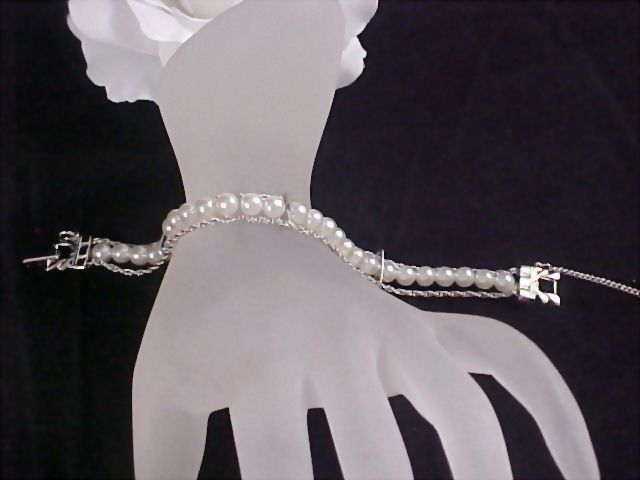 SALE ~ GOLDETTE of NY Silver Tone Simulated  Pearl 3 Row  Bracelet