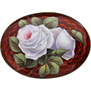 Antique 935 Silver Enamel Guilloche Rose Brooch Pin Red