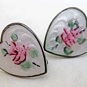 Vintage Sterling Enamel Heart Earrings