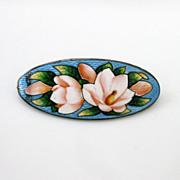 Antique Sterling Enamel Brooch Pin Beautiful Magnolia Flowers