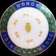 Antique 1914 Norway Sterling Enamel Guilloche Brooch Aksel Holmsen