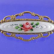 Vintage Finn Jensen Sterling Enamel Rose Brooch Pin