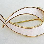 Vintage Sterling Enamel Norway Ivar Holt Modernist Brooch Pin White