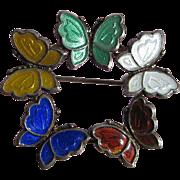 Vintage Sterling Enamel Denmark Meka Butterflies Brooch Pin