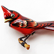Vintage Takahashi Male Cardinal Bird Pin Brooch