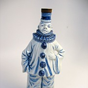 Great antique German blue & white porcelain figural clown bottle