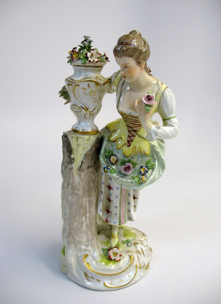 19th Century larger Dresden porcelain figure woman with flowers