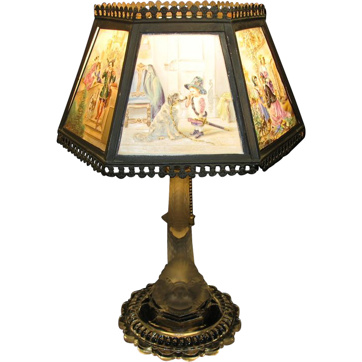 Antique porcelain & glass colored Lithopane table lamp A