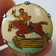 Rare vintage Satsuma button brooch of a Horse & rider with top hat