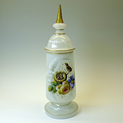Fine Victorian enameled opaline glass lidded pokel jar-birds in a nest