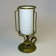 Rare  Victorian lithopane go to bed bronze fairy lamp chamberstick