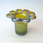 Vintage TIffany glass flower frog vase