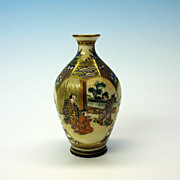 Antique signed Japanese miniature satsuma cabinet vase