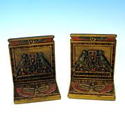 Original paint CJO Judd cast iron Egyptian bookends