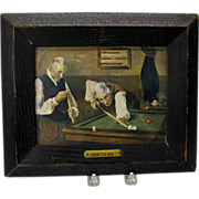 Vintage Pool players print in original frame titled ONE TO GO