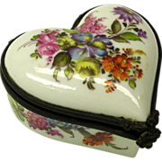 Antique hand painted pottery heart shaped patch box