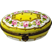 Fine antique painted porcelain patch box yellow with roses