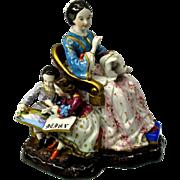 Big Victorian porcelain figural hidden inkwell group