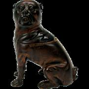 Rare full figure PUG dog glass eyed wood inkwell