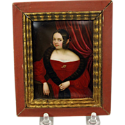 Fine early painted porcelain portrait plaque 1800's