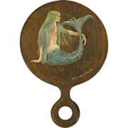 Original painting of MERMAID on round hand mirror RICHARD SPARRE Cape Cod