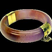 Vintage lavender jade and 14k gold plated bangle bracelet