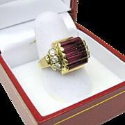 Retro 10k gold and diamond Ladies ring very Bauhaus look!