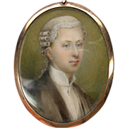 Georgian portrait miniature of a BARRISTER in 14k gold frame & case
