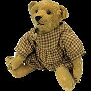 "Well loved early 12"" Steiff Teddy bear in gingham romper suit"